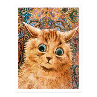 Cat with Wallpaper Background Louis Wain Postcards