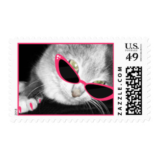 Cat With wink Sunglasses & Claws Postage