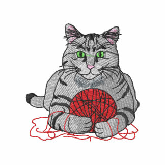 Cat with yarn embroidered hoodie