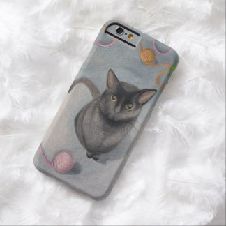 Cat with Yarn Illustration iPhone 6 Case