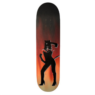 Cat woman on a Fire flames background Skateboard