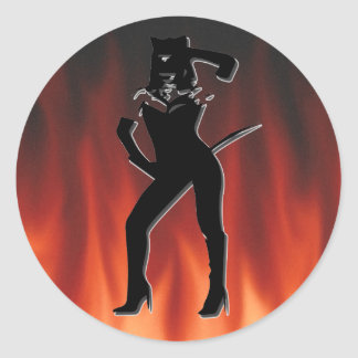 Cat woman silhouette classic round sticker