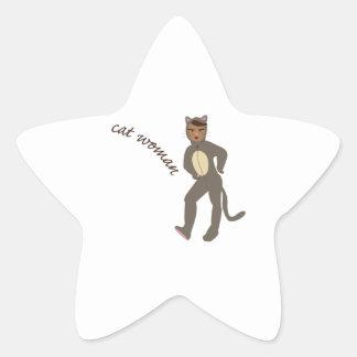 Cat Woman Star Sticker