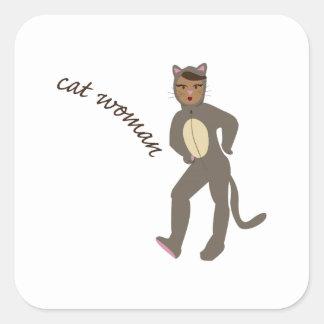 Cat Woman Square Sticker
