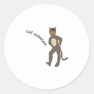 Cat Woman Classic Round Sticker