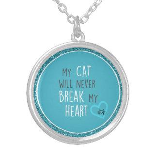 Cat Won't Break My Heart Sterling Round Necklace