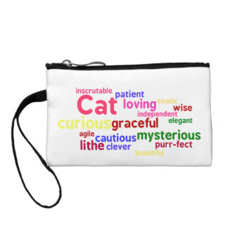 Cat Word Cloud Coin Purse