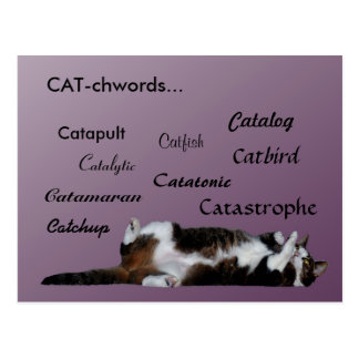 Cat words postcard