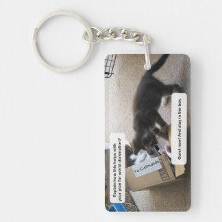 Cat World Domination Double-Sided Rectangular Acrylic Keychain