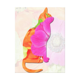 Cat Wrapped Canvas  Cat Silhouette Hot Pink Flower