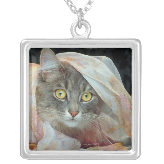 Cat wrapped in cloth silver plated necklace