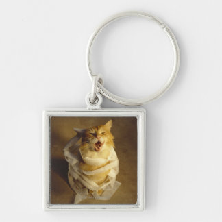 Cat wrapped in medical gauze keychain