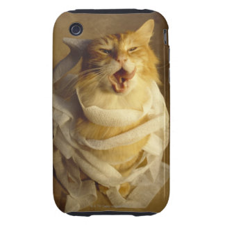 Cat wrapped in medical gauze tough iPhone 3 case