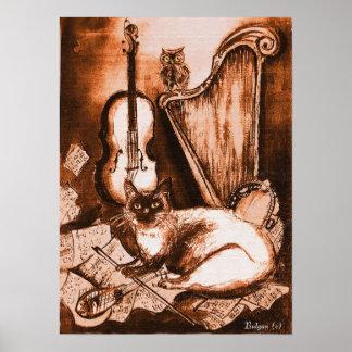 CAT Y BÚHO MUSICAL Brown y blanco Impresiones