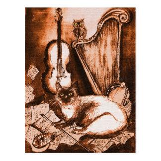 CAT Y BÚHO MUSICAL, Brown y blanco Tarjetas Postales