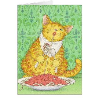 CAT y espaguetis Tarjeta Pequeña