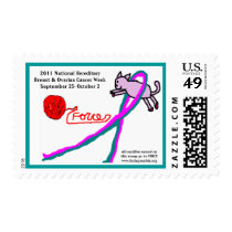 Cat & Yarn cancer awareness postage stamp