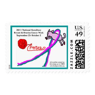 Cat & Yarn cancer awareness postage stamp