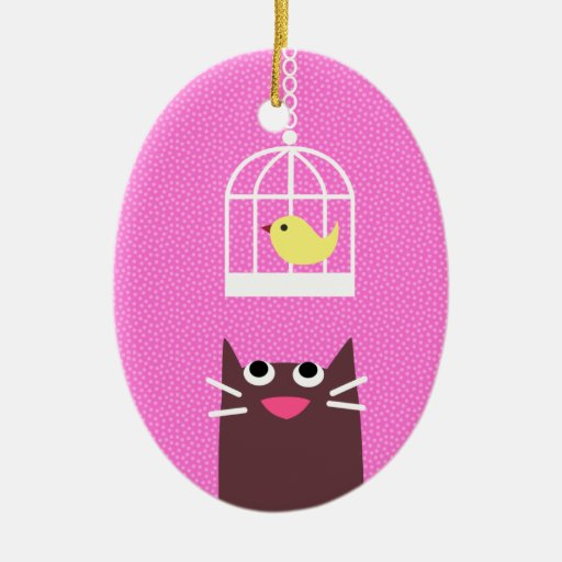 Cat & Yellow Bird Double-Sided Oval Ceramic Christmas Ornament