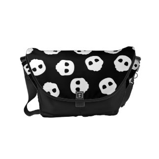 Catacomb White Skulls on Black Nu Goth Gothic Small Messenger Bag