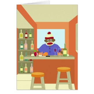 Catador del vino del mono del calcetín tarjeta de felicitación