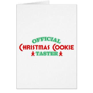 Catador oficial de la galleta del navidad tarjeton