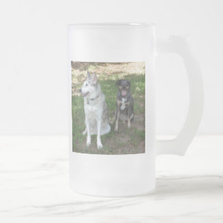 Catahoula and Ausky Dog Buddies Frosted Glass Beer Mug