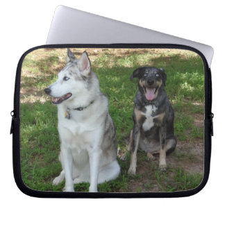 Catahoula and Ausky Dog Buddies Laptop Sleeves