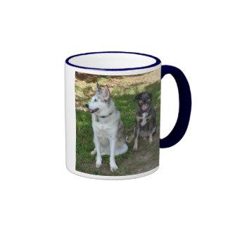 Catahoula and Ausky Dog Buddies Ringer Coffee Mug