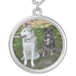 Catahoula and Ausky Dog Buddies Round Pendant Necklace