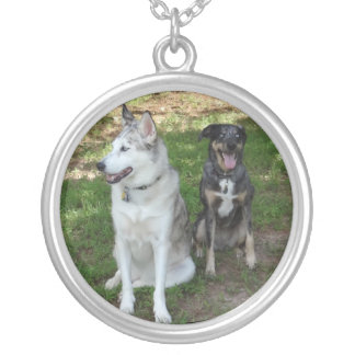 Catahoula and Ausky Dog Friendship Round Pendant Necklace