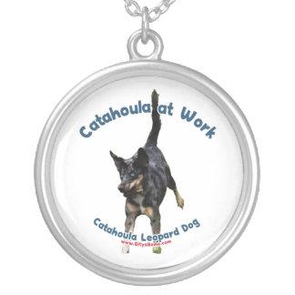 Catahoula Dog at Work Round Pendant Necklace