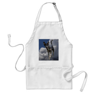 Catahoula Dog Running in Fluffy White Clouds Adult Apron
