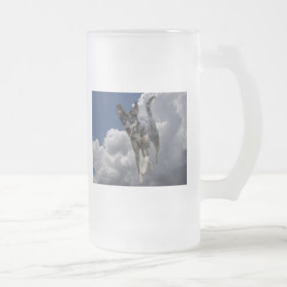 Catahoula Dog Running in Fluffy White Clouds Frosted Glass Beer Mug