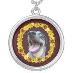 Catahoula Dog Yellow Daisies Flowers Round Pendant Necklace