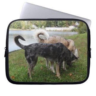 Catahoula Leopard Dog and Ausky Dog Sniffing Laptop Computer Sleeve