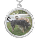 Catahoula Leopard Dog and Ausky Dog Sniffing Round Pendant Necklace