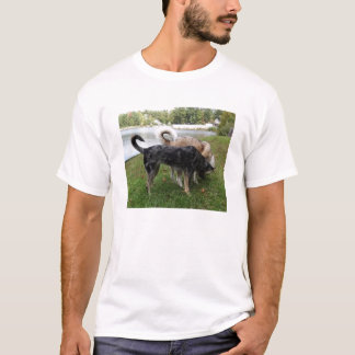 Catahoula Leopard Dog and Ausky Dog Sniffing T-Shirt