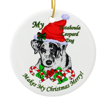 Christmas Themed Catahoula Leopard Dog Christmas Gifts Ornament