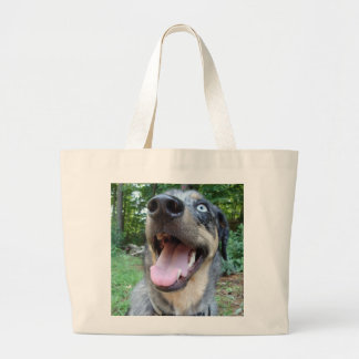 Catahoula Leopard Dog Face Large Tote Bag