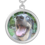 Catahoula Leopard Dog Face Round Pendant Necklace