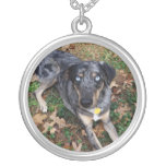 Catahoula Leopard Dog Laying Down Round Pendant Necklace