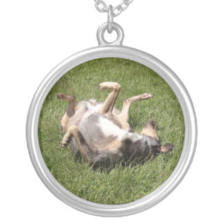 Catahoula Leopard Dog Rolling in Grass Round Pendant Necklace