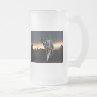 Catahoula Leopard Dog Running on Sunset 16 Oz Frosted Glass Beer Mug