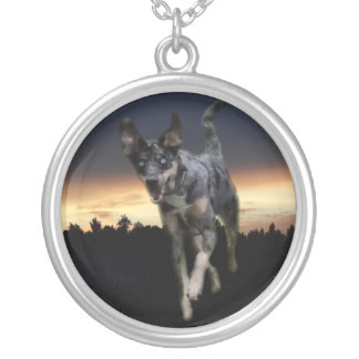 Catahoula Leopard Dog Running on Sunset Silver Plated Necklace