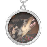 Catahoula Leopard Dog Showing Teeth Round Pendant Necklace