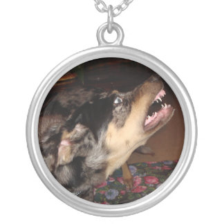 Catahoula Leopard Dog Showing Teeth Silver Plated Necklace
