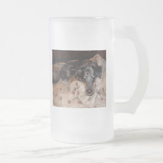 Catahoula Leopard Dog Snoozing 16 Oz Frosted Glass Beer Mug