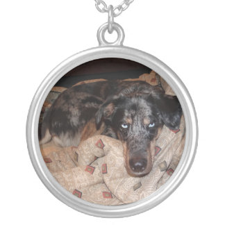 Catahoula Leopard Dog Snoozing Silver Plated Necklace
