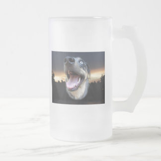 Catahoula Leopard Dog Sunset 16 Oz Frosted Glass Beer Mug